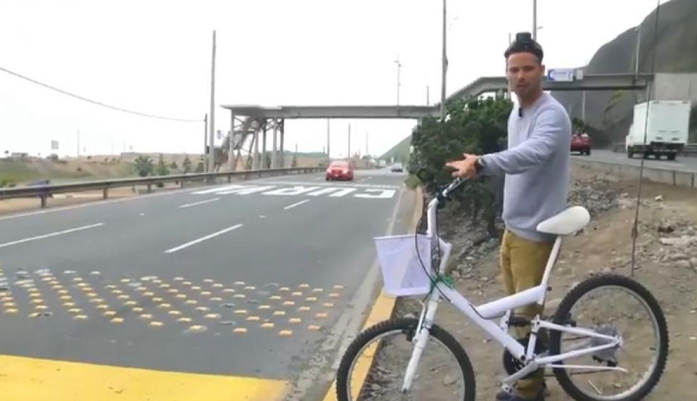 """Pancho Cavero """"arriesga su vida"""" al intentar manejar bicicleta por la Costa Verde"""
