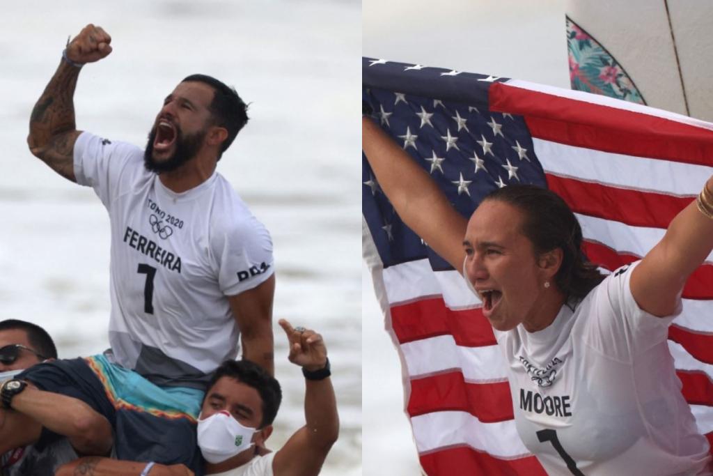 Italo Ferreira y Carissa Moore son los primeros campeones olímpicos del surf